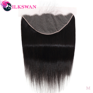Silkswan Straight 13*6 Lace Frontal Brown Lace Frontal With Baby hair Remy HairPre-plucked Ear To Ear closure(China)