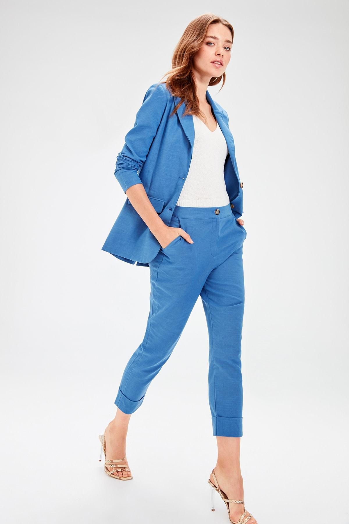 Trendyol Indigo Button Detail Pants TWOAW20PL0050
