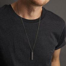 Colar e pingente retangular masculino, colar preto da moda, corrente simples de aço inoxidável, presente de joias para homens, 2020