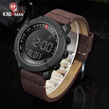 KADEMAN Men Watch Luxury Sport Steps Counter LCD Digital 3ATM Fashion Designer Casual Leather Wristwatch Relogio Masculino