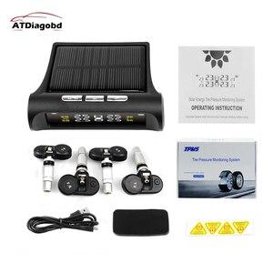 original Solar Power USB TPMS Car Tire Pressure Monitoring System LCD 4 External / Internal Sensors for SUV Temperature Warning(China)