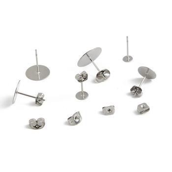 100-200 шт., серьги-гвоздики из нержавеющей стали