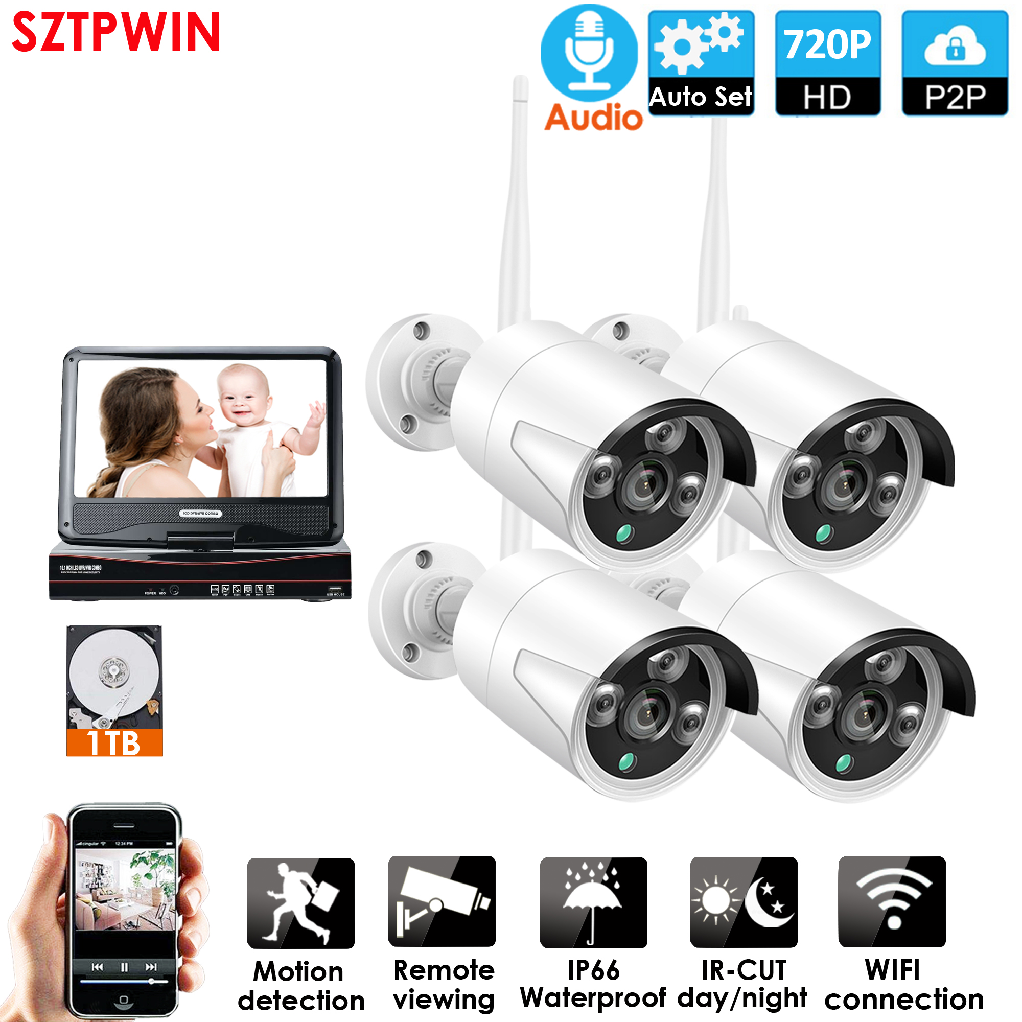 Monitor with Security Camera Surveillance System Live Ir Surveillance Monitor