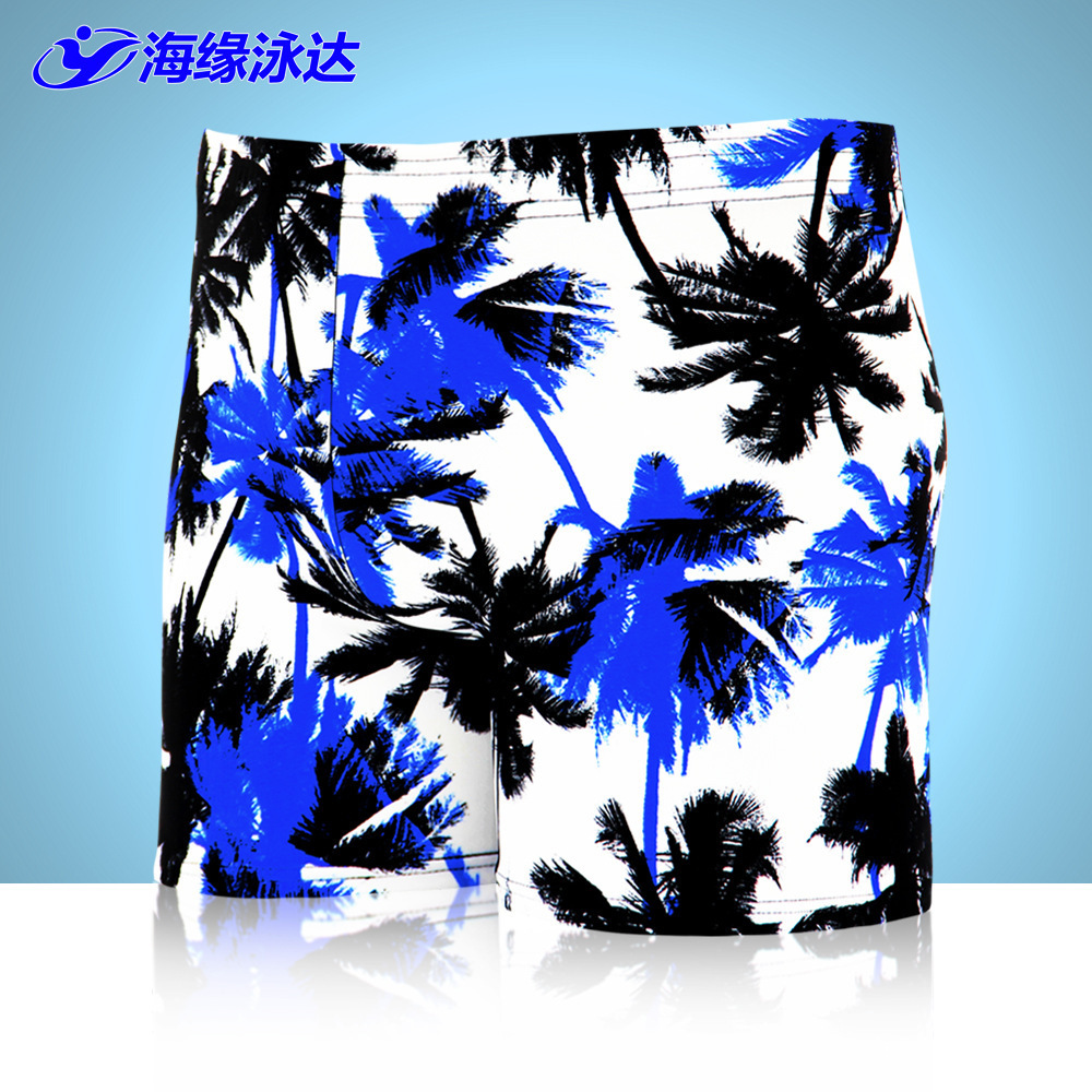 2017 New Style MEN'S Swimming Trunks Quick-Dry Hot Springs Boxer Swimming Trunks Printed Beach Palm Swimming Trunks Factory Pric