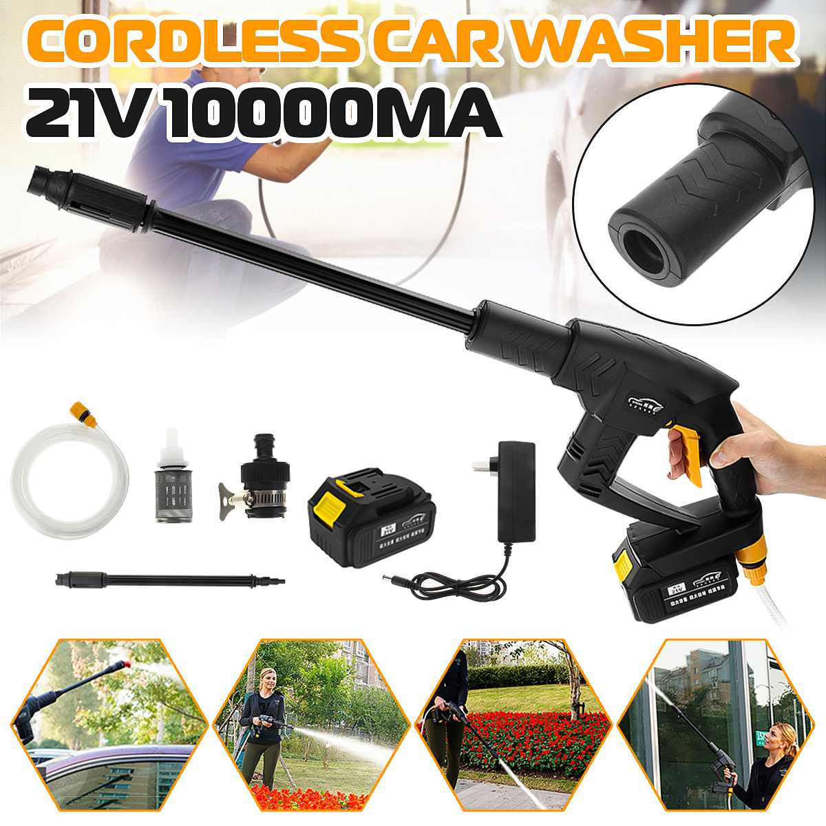 7-12pcs/set 21V Cordless Rechargeable Car Washer Mashine 0.9Mpa High Pressure Nozzle Hose Cleaner+ 10000mA Battery Washing Pump