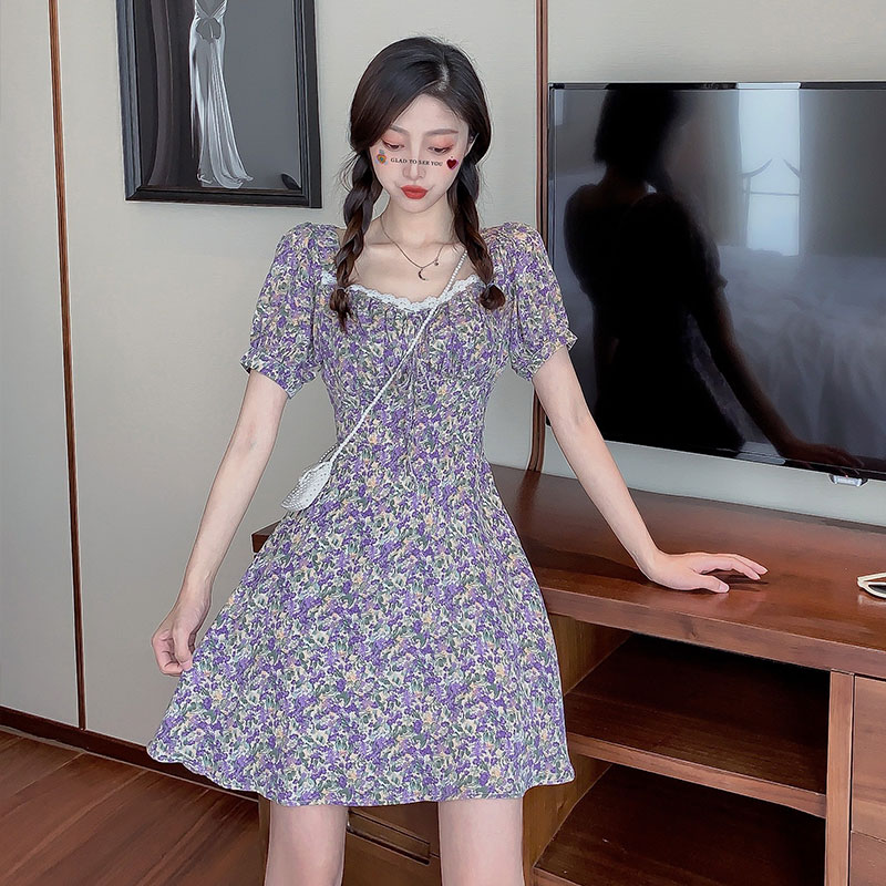 Purple Floral Mini Dress For Women Summer Short Sleeve Acetate Ladies Sexy Formal Party Dresses Plus Size