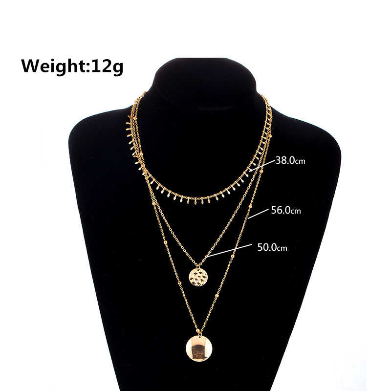 Bijoux Femme Collier złoty kolor wielowarstwowe cekiny komunikat Bib Chokers naszyjniki kobiety Choker Boho biżuteria Kolye 2019 nowy