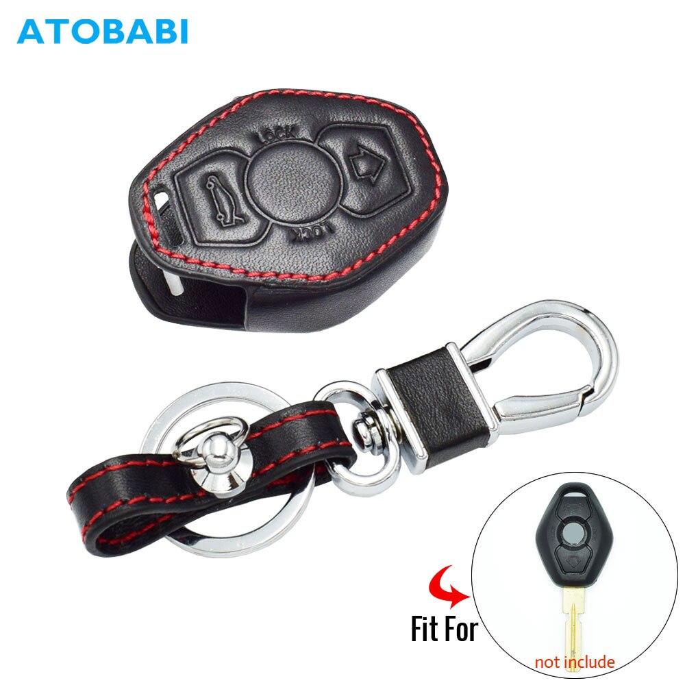 AndyGo 2 Button Leather Key Cover Fit BMW X3 X5 Z3 Z4 3 5 7 Series E38 E39 E46 E83 M5 325i Remote Case Holder Protector