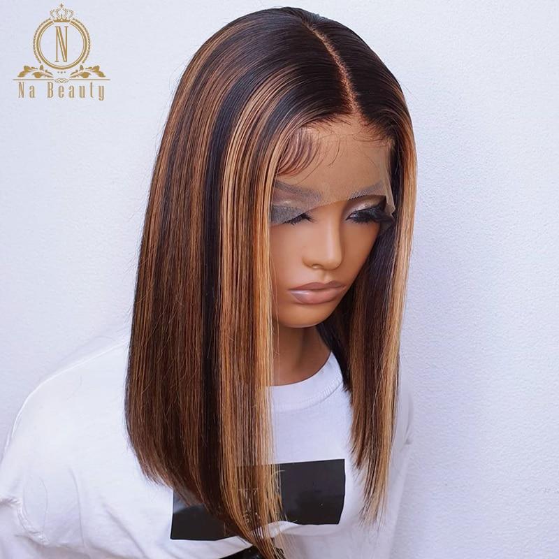 Черный с коричневым хайлайтером парик T часть Передняя кружевная парик из человеческих волос прозрачный кружевной парик отбеленные узлы дл...