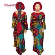 Robe longue style africain pour femme, vêtement en coton Bazin Riche, écharpe tête libre, collection automne 2020, 6xl, WY2793