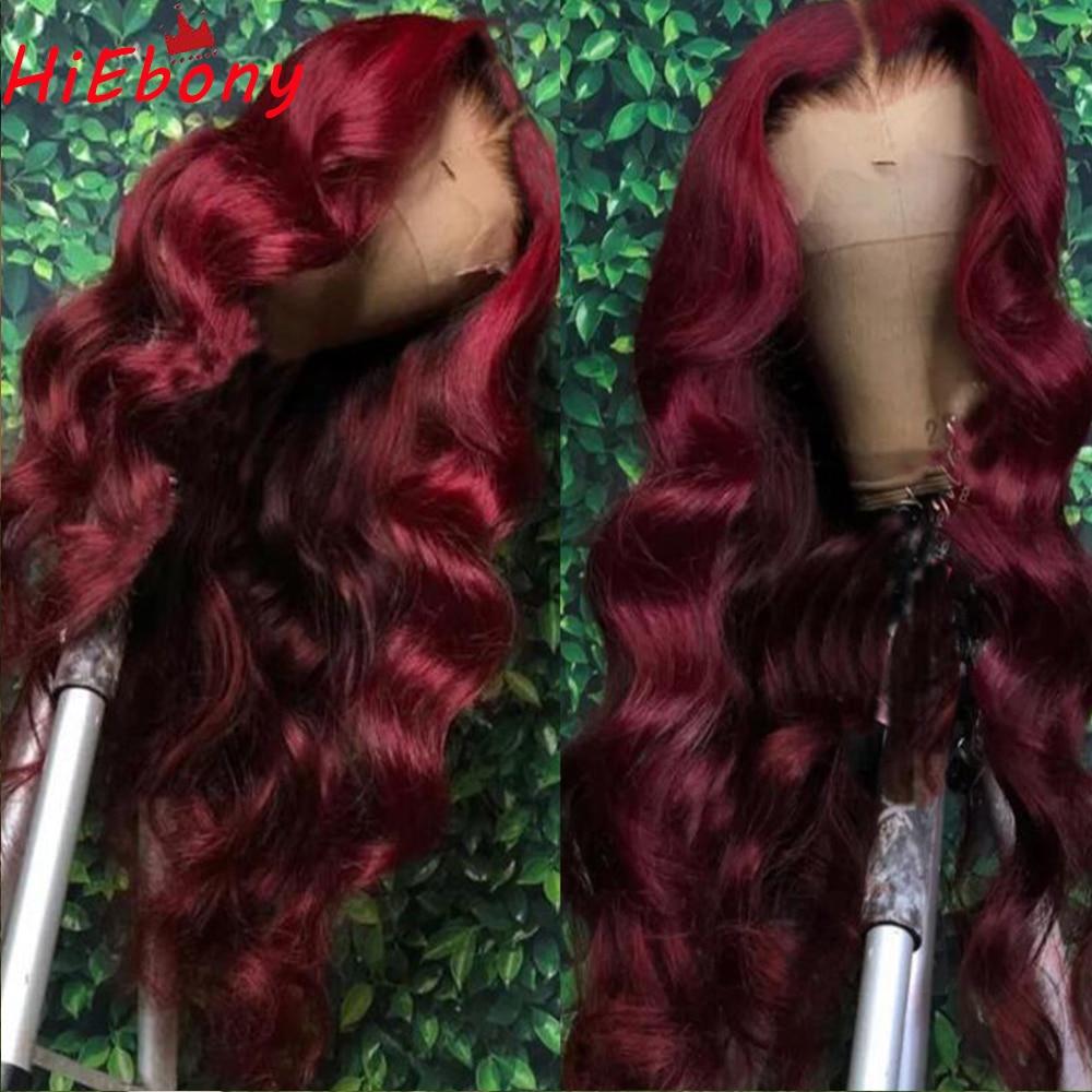 HiEbony предварительно Синтетические волосы на кружеве парик темно-красный цвет 180% объемная волна бесклеевой Волосы Remy Синтетические волосы н...