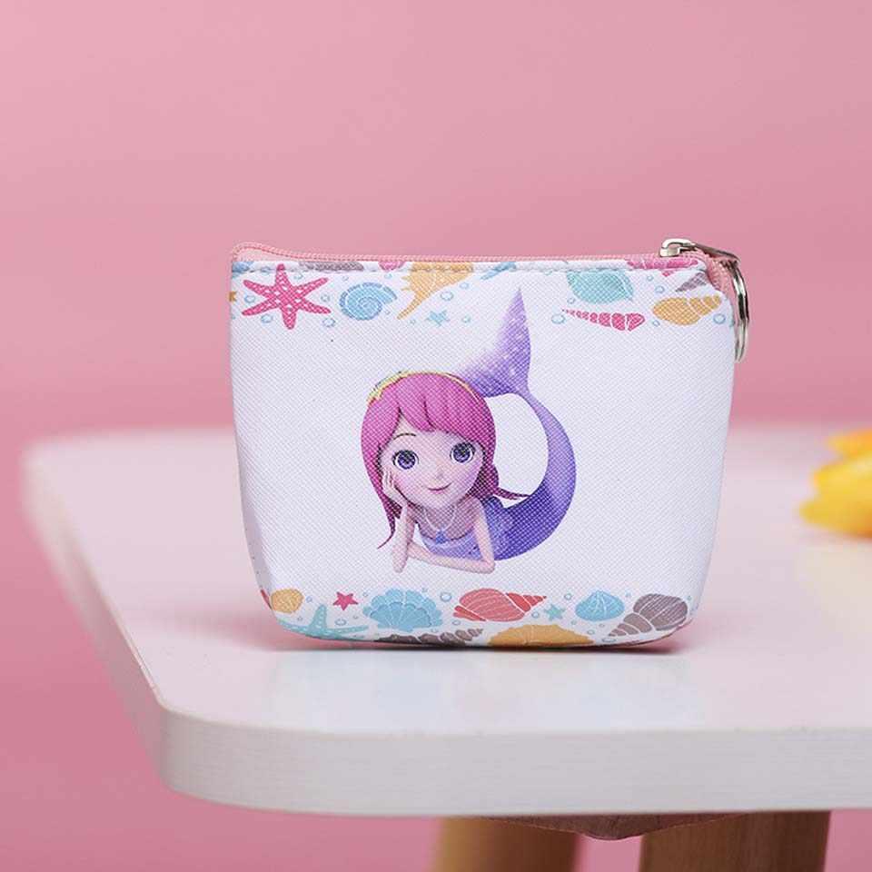 Monedero de la PU de la sirena impresa de la historieta para las niñas monedero de la moneda de las mujeres Mini monedero del cambio lindo unicornio niños cremallera bolsa de regalo