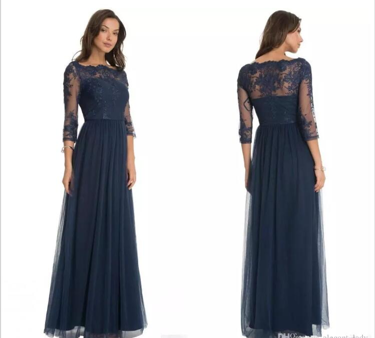 2018 Robe De Soiree Formal Evening Gown Lace Scoop Neck Sheer Three Quarter Sleeves Floor Length Mother Of The Bride Dresses
