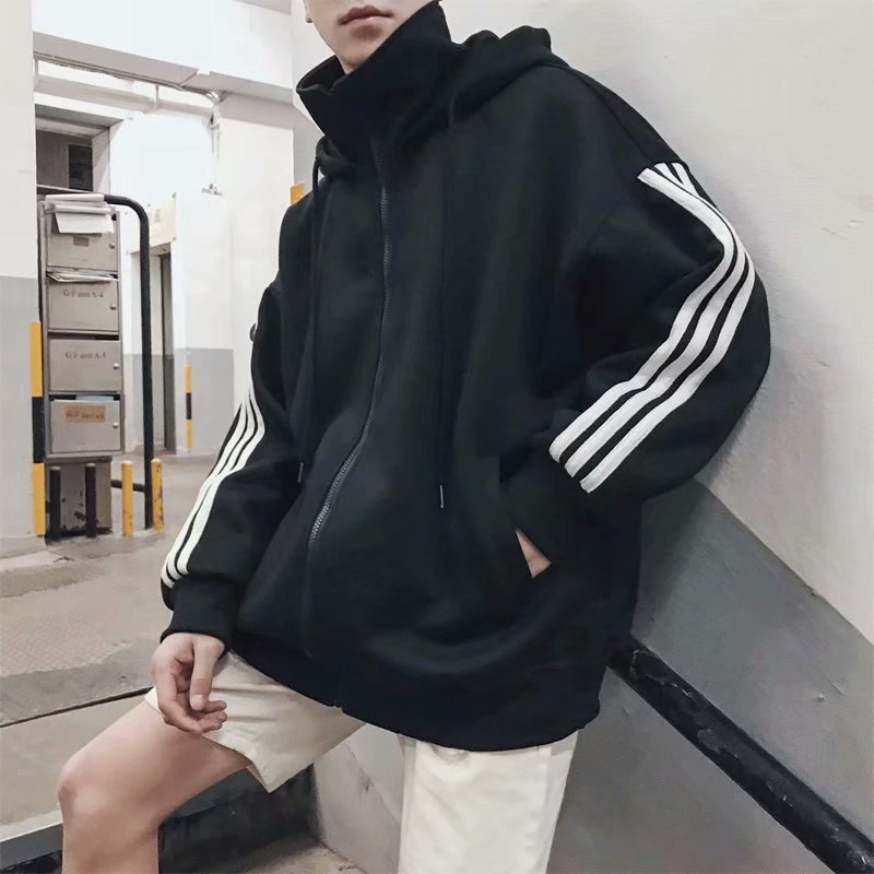 2020 New Striped Hoodie Classic Three Bar Men's Sports Leisure Hip-hop Hoodie Jacket High Quality Loose Hoodie