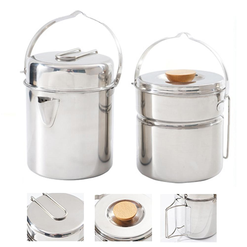 Stainless Steel Portable Pot Camping Cooker Set Pot Picnic Barbecue Mountaineering Steamer Pot Kettle Camping Pot Food Container image