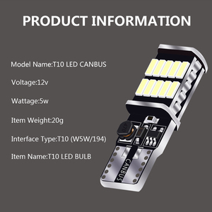 Image 4 - Wholesale 100PCS T10 W5W Canbus 26SMD Car LED  4014 194 168 W5W 2.5W 0.2A Non polar Auto Wedge Tail Side Bulb reading plate lamp
