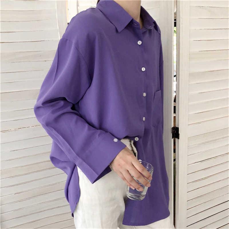 Chic Vrouwen Solid Shirt Office Dames Casual Vesten Tops En Shirts Vrouwelijke Koreaanse Lange Mouwen Blouses Chic Pocket Shirts