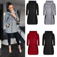 Autumn Women Solid Color Jacket Overcoat Zipper Long Sleeved Outwear Casual Hood