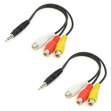 2Pcs 3 RCA Female Audio/Video Connector to 3.5mm Jack Plug Adapter Cable(China)
