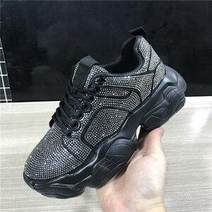 Image 1 - 2019 ฤดูใบไม้ร่วงแพลตฟอร์มคริสตัลรองเท้าผ้าใบผู้หญิงรองเท้าแฟชั่น Lace Up สุภาพสตรีรองเท้าผ้าใบรองเท้าผ้าใบ Blingbling Rhinestone รองเท้า