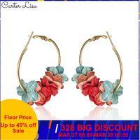 CARTER LISA 2019 nouvelle mode tissu fleur cerceau boucles d'oreilles 5 couleur pétale pour les femmes rondes boucles d'oreilles européennes Ins boucles d'oreilles bijoux