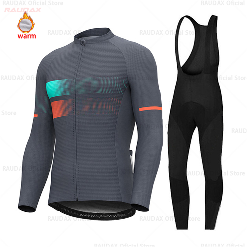 2019 Long Sleeve Cycling Jersey Winter Thermal Fleece Men Cycling Clothing MTB Ropa Ciclismo Maillot Wear Bike Bib Pants Set