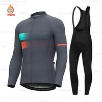 2019 koszulka kolarska z długim rękawem Winter Thermal Fleece mężczyźni odzież rowerowa MTB Ropa Ciclismo Maillot Wear Bike Bib zestaw spodni w Zestawy rowerowe od Sport i rozrywka na