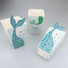 24Pcs Mermaid Tail Popcorn Box Party Favor Boxes Kids Birthday Baby Shower Table Supply(China)