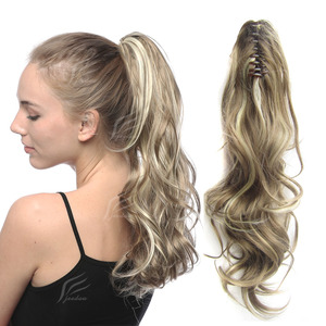 Synthetic Long Wavy Hair Piece Pony Tail Extension Claw Voluminous Curly Ponytails Black Brown Blonde