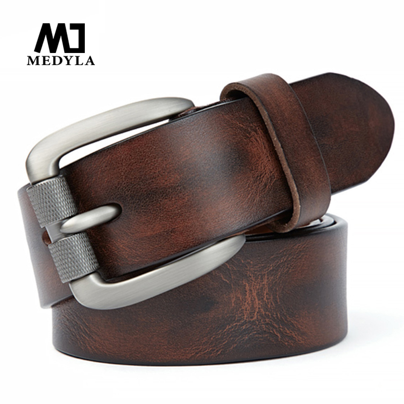 MEDYLA Fashion Men's Belt Top Natural Genuine Leather Sturdy Buckle Men Vintage Belt Suitable For Jeans Casual Pants Cummerbund