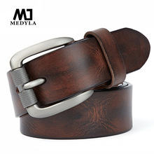 MEDYLA Fashion Mens Belt Top Natural Genuine Leather Sturdy Buckle Men Vintage Belt Suitable for Jeans Casual Pants Cummerbund