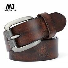 MEDYLA mode hommes ceinture de haute qualité en cuir naturel robuste en acier brossé boucle hommes ceinture adapté pour Jeans pantalons décontractés