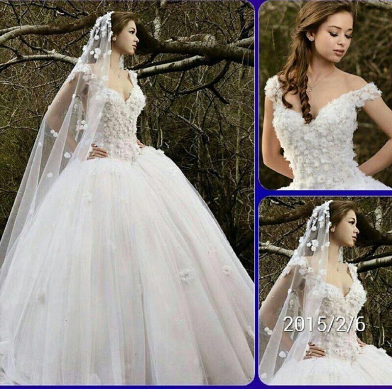 New Beautiful Puffy Ball Gown Wedding Dress 2016