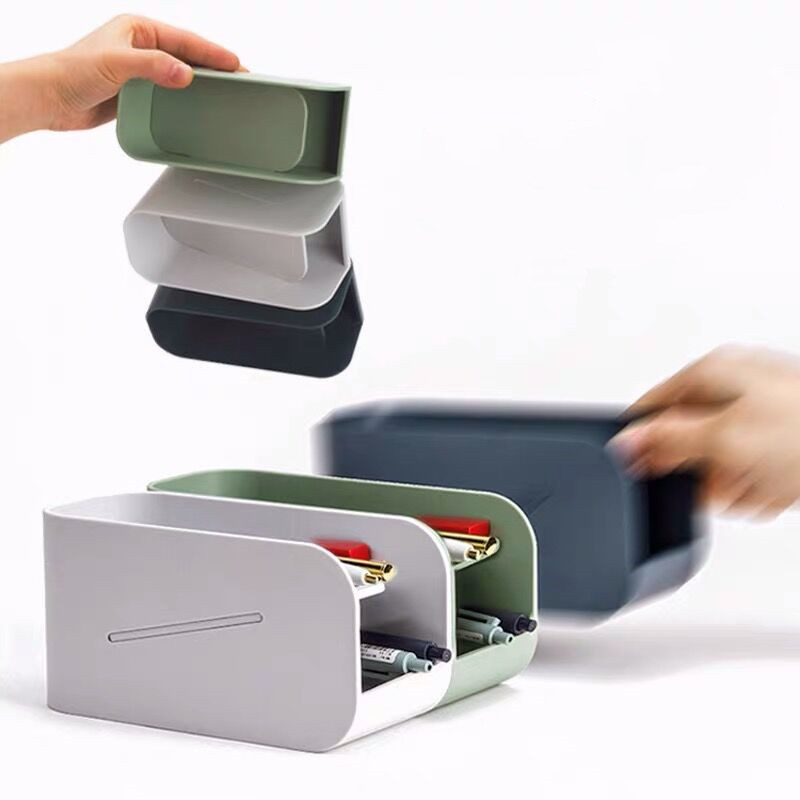 Sharkbang New Arrival Creative Double Layer Magnetic Pen Holder Desk Organizer Storage Box School Office Accessories Stationery