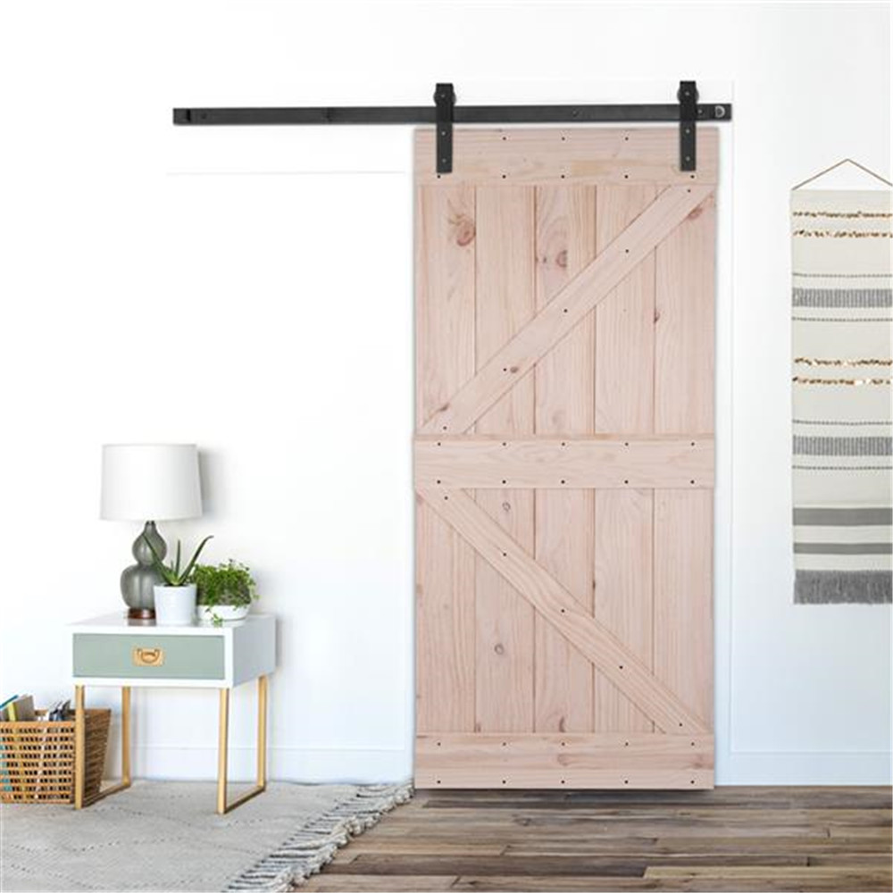 36in X 84in Unfinished Knotty Pine Sliding Barn Door With Pre-Hollowed Floor Guide,Pre-Drilled Ready To Assemble And Paint/Stain