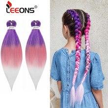 Leeons – tresses synthétiques arc-en-ciel, 26 pouces, Ez tresses pré-étirées, Yaki Crochet, cheveux ombré rose violet