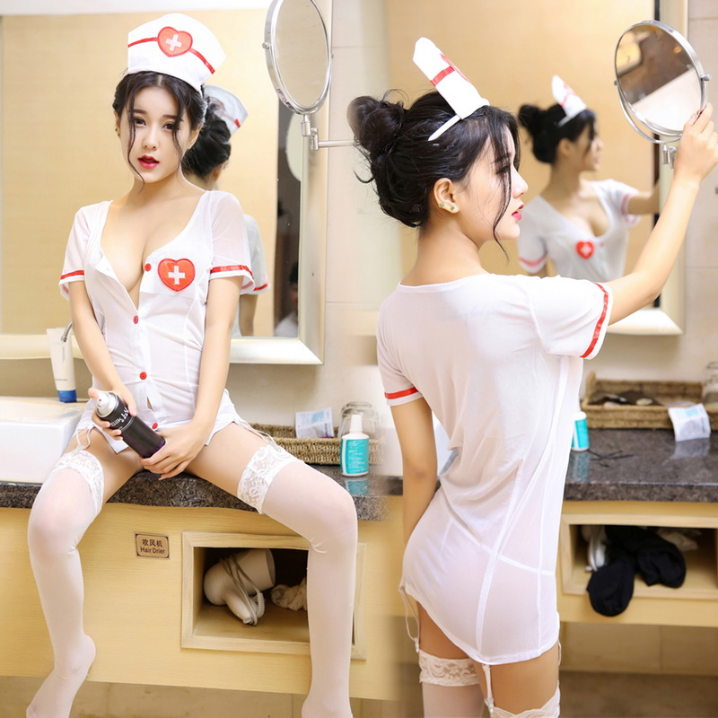 Nightwear Underwear Sexy Nurse Play Cosplay Women's Clothes White Stocking Nurses Clothing Role-playing Three-point Button Set