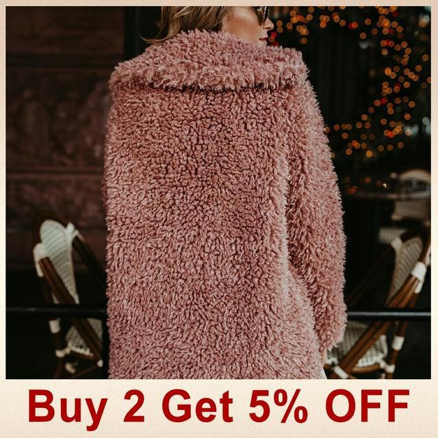 Jocoo Jolee Fluffy Faux Fur Coat Women Thicken Winter Fake Fur Pink Black Coat Female Fashion Streetwear Cardigan Outerwear