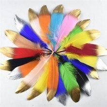50Pcs Dip Golden Head Goose Feathers 15-20cm/6-8 Gold Feathers Natural Pheasant Feather for Crafts Assesoires Plume Decoration 50pcs 25q80bvaig w25q80bvaig dip 8