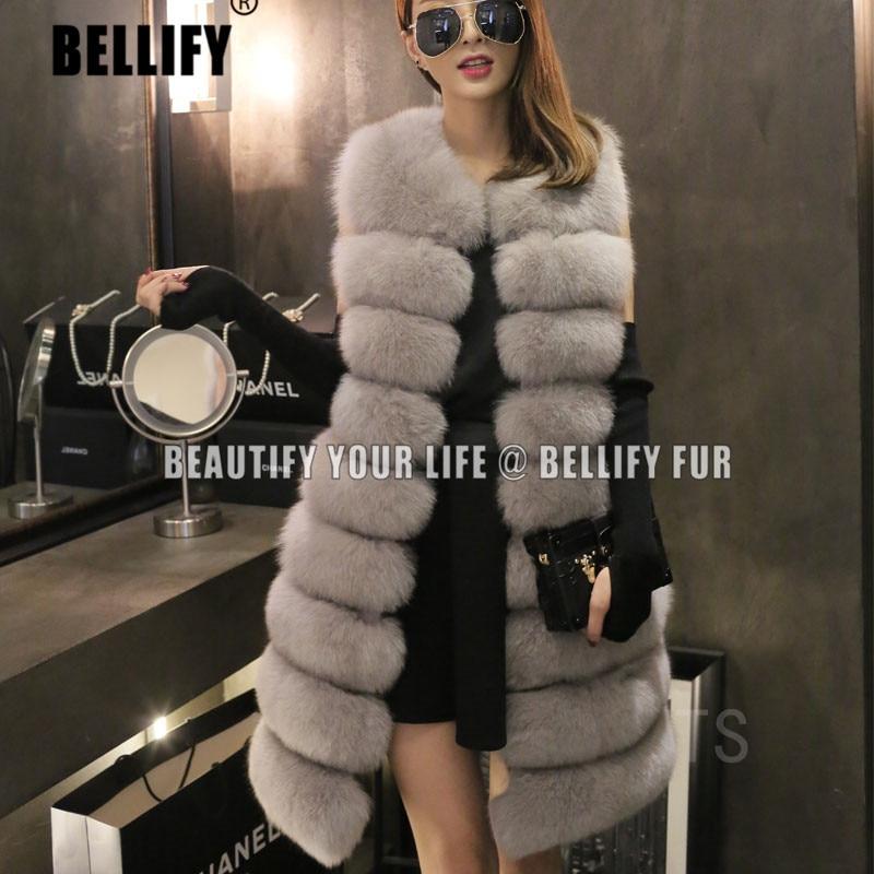 Dámská 100% skutečná originální plstěná liška z kožešin 90 cm s dlouhým rukávem vesta vesta gilet móda horizontální slim vesta luxusní