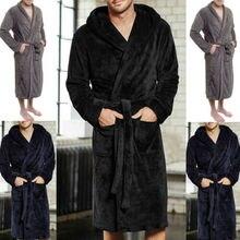 Mens Warm Super Soft Flannel Coral Fleece Long Bath Robe Mens Kimono Bathrobe Male Dressing Gown Robes
