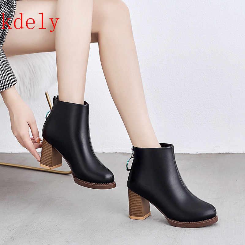 2020 neue Stil Frauen Stiefeletten dropshipping Herbst Martin Frauen High Heels Stiefel Plattform Sexy Damen Schwarze Pumps Stiefel Schuhe