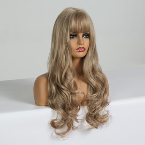 Image 2 - ALAN EATON Long Wavy Wigs for Black Women African American Synthetic Hair Light Brown Wigs with Bangs Heat Resistant Cosplay
