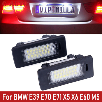 C-Auto 2Pcs Car LED White Numbe License Plate Led Light Lamp For BMW E39 E70 E71 X5 X6 E60 M5 E90 E92 E93 M3 image
