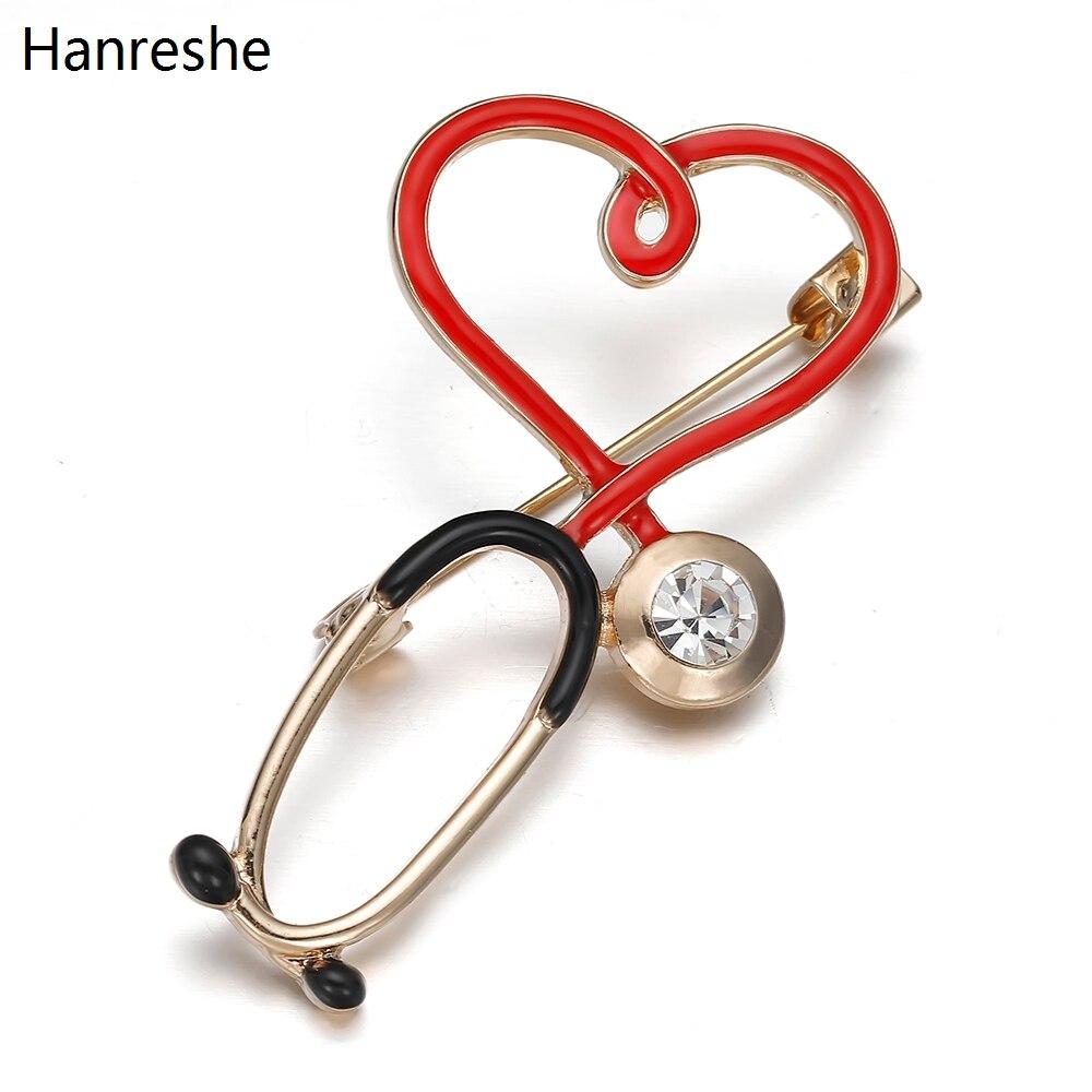2020 yeni sıcak satış tıbbi ilaç broş Pin stetoskop elektrokardiyogram kalp şeklinde Pin hemşire doktor sırt çantası yaka takı