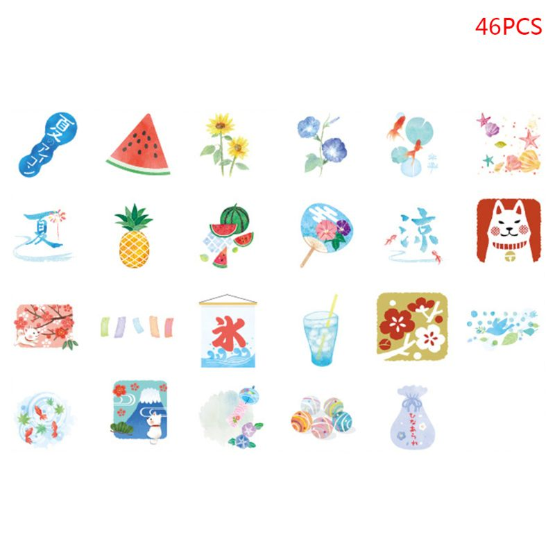 46pcs/box Watermelon Stationery Stickers Sealing Label Travel Sticker DIY Scrapbooking Diary Planner Albums Decorations