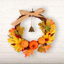 Garland-Decor Wreath Vine Pumpkin Hanging-Door Window Artificial Autumn Harvest Leaf