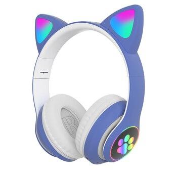 Flash Light Cute Cat Ears Bluetooth Wireless Headphone with Mic Can control LED Kid Girl Stereo Music Helmet Phone Headset Gift 8