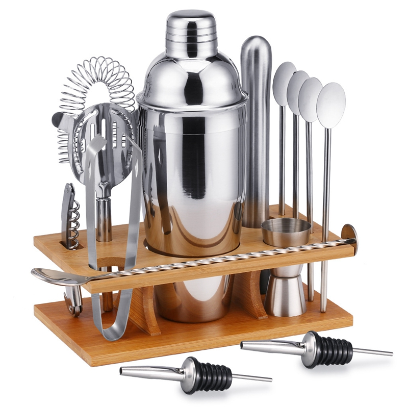 6-14 pcs/set 750ml Stainless Steel Cocktail Shaker Mixer Drink Bartender Browser Kit Bars Set Tools With Wine Rack Stand
