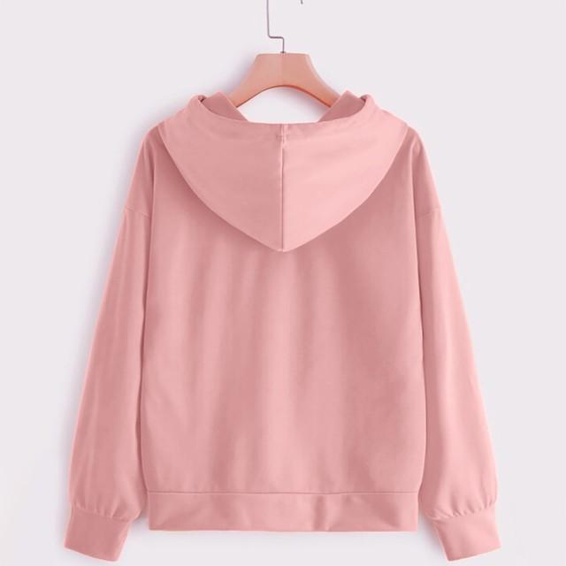 Women Hoodies Casual Love Print Solid Loose Drawstring Sweatshirt Long Sleeve Hooded 2020 Spring Autumn Female Pullover Tops 6